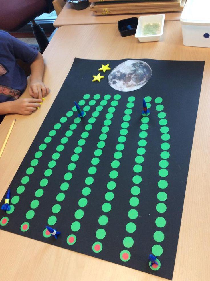 raket naar de maan, wie is er als eerste? Woordkaarten in klankgroepen verdelen en zoveel stappen vooruit zetten!