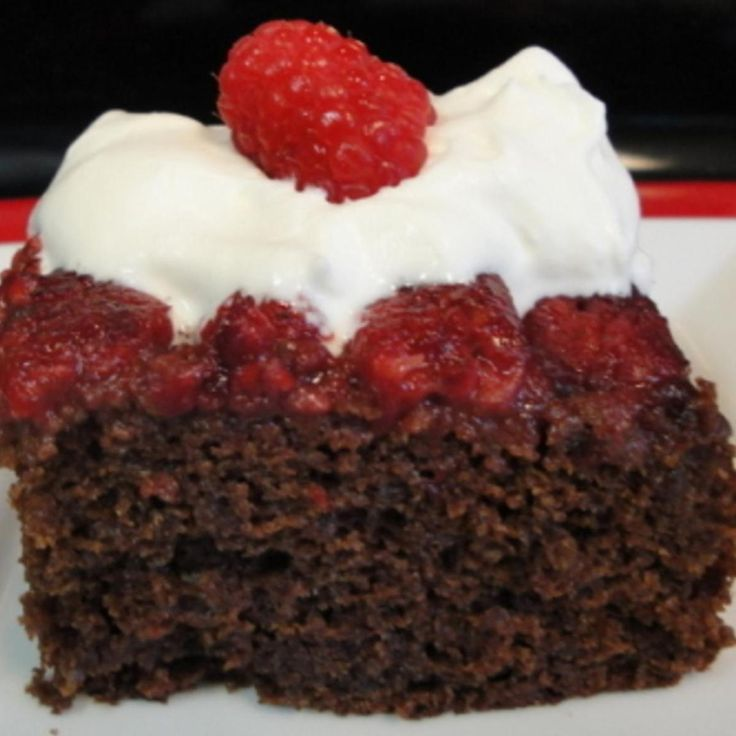 Spicy Chocolate Raspberry Upside-Down Cake with Raspberry Chantilly Cream
