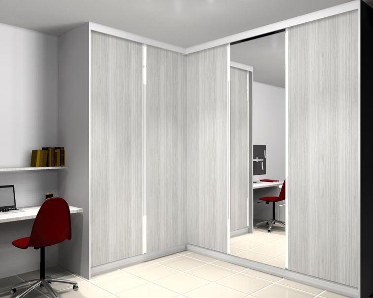Guarda roupa em L de 5 portas e 1 porta com espelho
