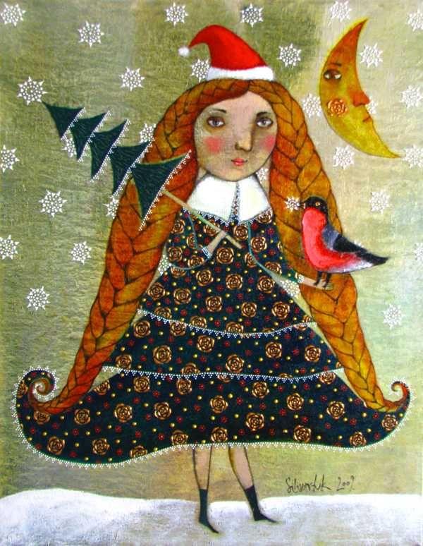 """Little Christmas tree"" 2009. 60x50cm. Oil on canvas"
