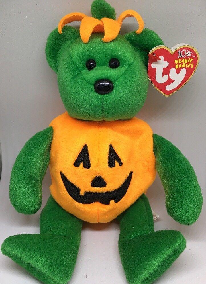TY Beanie Baby TRICKY Bear Jack-O-Lantern Pumpkin Costume     eBay