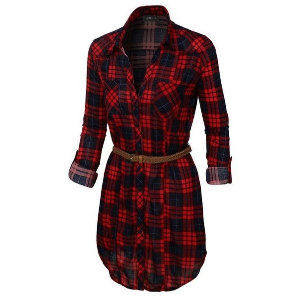 (pre-order) Red Plaid Button Down Shirt Dress ($42) ❤ liked on Polyvore featuring dresses, tartan dresses, red tartan dress, button up dress, red dress and shirt dresses