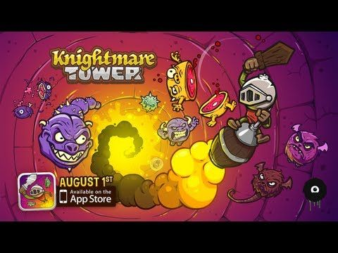 "KNIGHTMARE TOWER • 5/5 • So good. It's a bit of an endless runner, but it's broken up in ways that can make the game feel like it can be ""completed,"" though it's a bit short. The premise of the game is you are a knight, trying to scale a tower to rescue a few of princesses. But then, you're also trying to escape fast-encroaching lava. How you do this is by bouncing down upon the heads of enemies, attacking them with your sword, and siphoning speed to propel you further upwards."