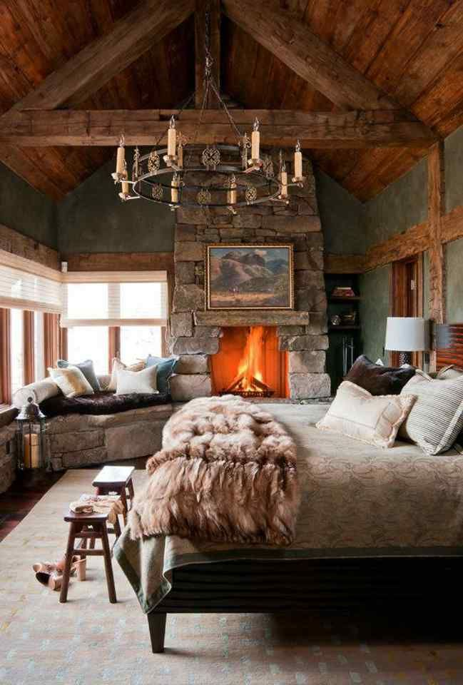 Romantic rustic, such a beautiful dreamy room. Fur throws and wooden beams...the idyllic cosy hide away