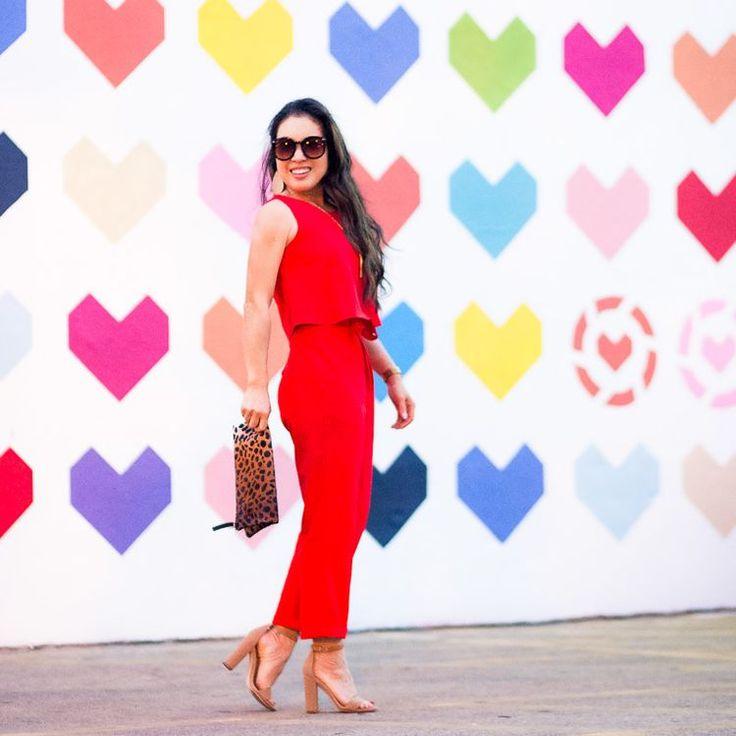Red jumpsuit leopard purse camel heels