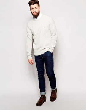 Enlarge Farah Jumper with Cable Knit in Regular Fit
