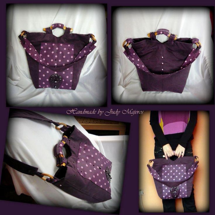 lila pöttyös táska-handmade by Judy Majoros