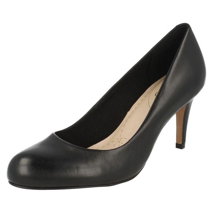 Ladies Clarks Black Leather Court Shoe Carlita Cove D Fitting