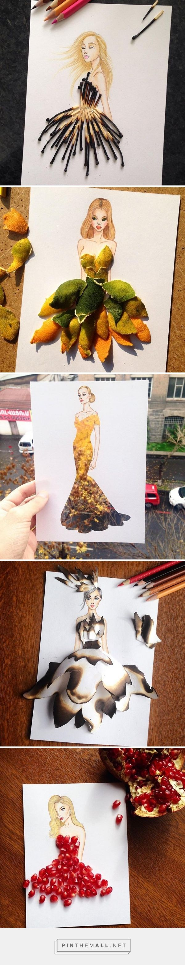 Armenian fashion illustrator Edgar Artis uses stylized paper cut outs and everyday objects to create beautiful dresses. His creative fashion sketches include such items as rose petals, various plants and food, even buildings. (Via BoredPanda)