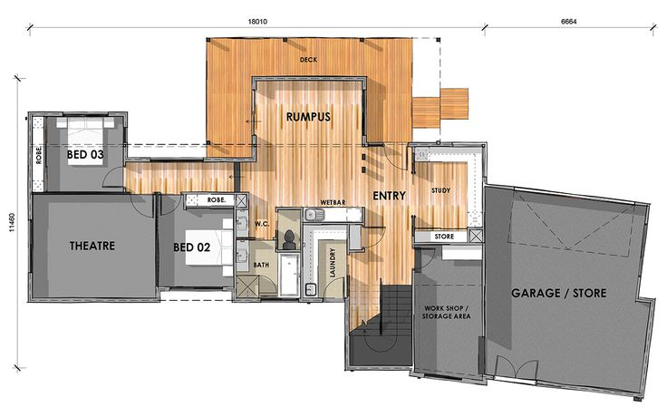 D33.6: Ground Floor - Custom design home on sloping block.