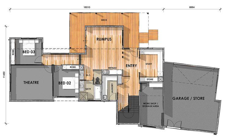 D33.6: Ground Floor - Custom design home on sloping block.