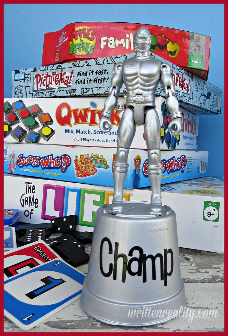 Here are some ideas on how to Make a Trophy for Family Game Night