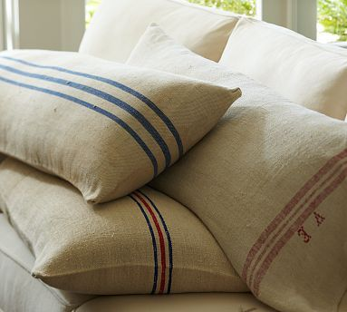DIY - Knock Off Vintage Feed Bag Pillow Covers - Using Painters Drop Cloth material and Acrylic Craft Paint. Step-by-Step Tutorial.