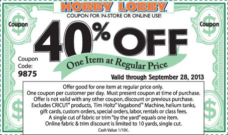 For shopping with Steph at the holidays - Get a mobile coupon for Hobby Lobby every week!