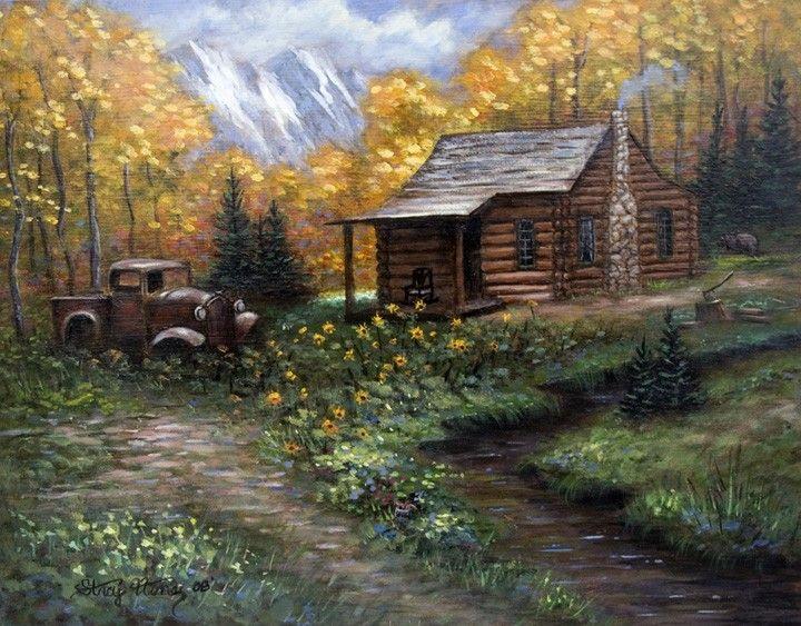 Log Cabin Autumn Trees Mountain Painting 11 X 14