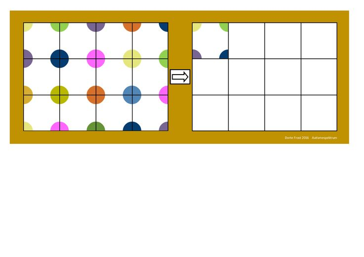 Board for the color dot copying game. Find the belonging tiles on Autismespektrum on Pinterest. By Autismespektrum