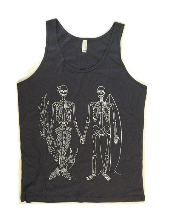 Sale Men Women Unisex SKELETON Mermaid and Surfer GIFT Beach Tank Top by American Apparel Made in the USA xs, s, m, l, xl , More Colors  ***Check out all our mermaid print clothing... https://www.etsy.com/shop/FreeBirdCloth/search?search_query=mermaid&order=date_desc&view_type=gallery&ref=shop_search  Perfect for Men and Women this Fun tank top is printed is hand screen printed using non toxic earth friendly ink  This American Apparel tank features a nice loose drape perfect for the summer…
