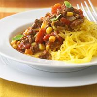 Spaghetti Squash with Chili: Spaghetti Squash, Health Food, Chilis Recipes, Dinners Recipes, Ground Beef, Healthy Dinners, Healthy Eating, Dinners Ideas, Ground Turkey