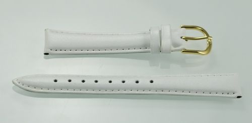 Womens White Leather Replacement Watch Band 16mm