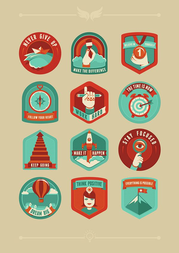 Motivational badges on Behance