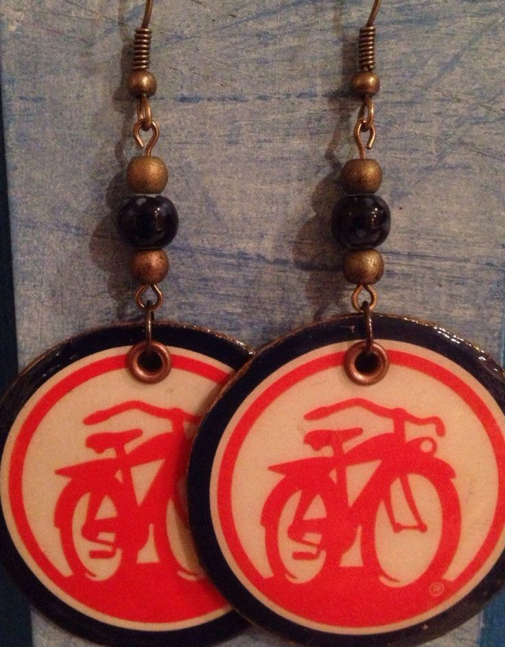 Up-Cycled Fat Tire Beer Box Cardboard Earrings, bicycle earrings by NCSustainableStyle on Etsy