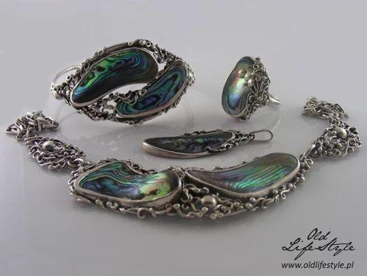 Komplet biżuterii spółdzielni ORNO z masą perłową