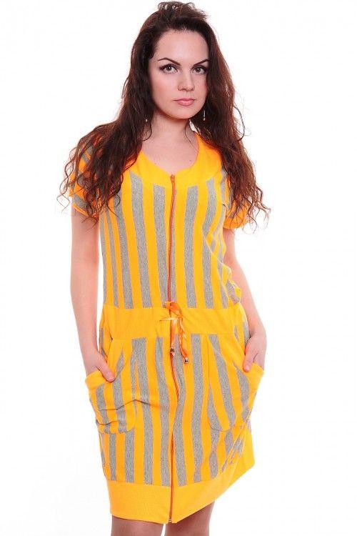 Халат А4292 Размеры: XL, 2XL, 3XL, 4XL Цвет: желтый Цена: 375 руб.  http://optom24.ru/khalat-a4292/  #одежда #женщинам #халаты #оптом24