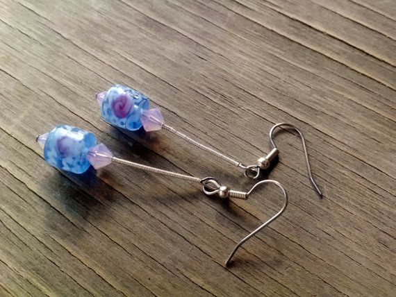 Silver Blue White Rose Swirl Lampwork Glass by JennieVargasJewelry,