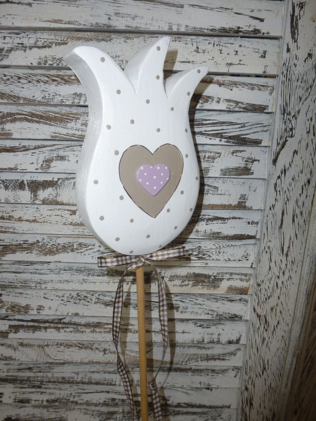 Pflanzen- & Gartenstecker - Pflanzstecker * TULPE * Pünktchen Herz - ein Designerstück von farbtupferl bei DaWanda