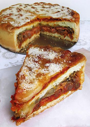 Definitely my favorite dinner item, Chicago Style Pizza.  Stuffed with whatever you want, it's basically a sandwich pizza.