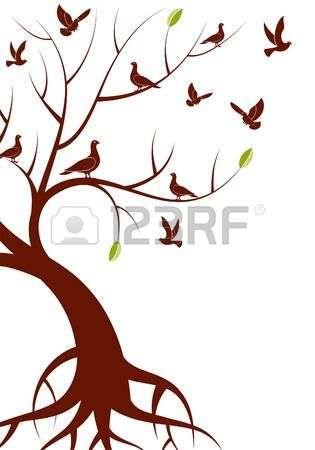 albero stilizzato: Albero stilizzato con foglie e uccello, per la progettazione