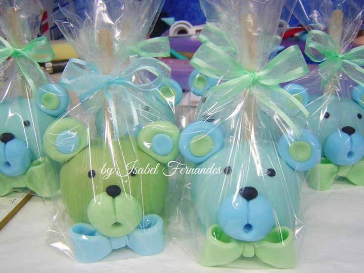 Green and Blue Bear Chocolate Apple
