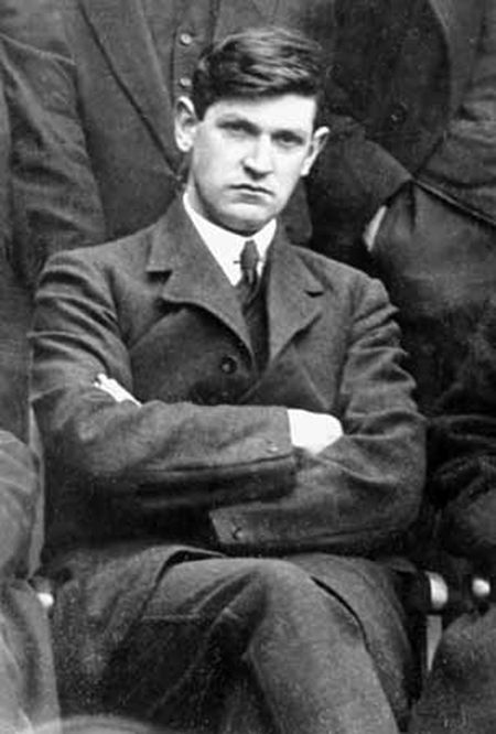 Michael Collins, seriously brooding over the cause of Irish independence.