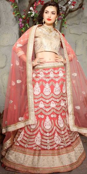 Astounding Peach Net Lehenga Choli.