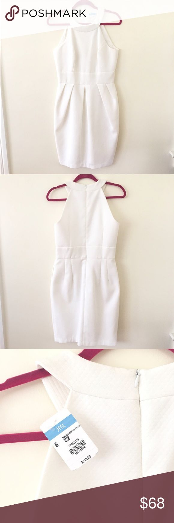 NWT, J.McLaughlin Dress White ponte J.McLaughlin halter style dress, new with tags. Zips and clasps in back. Fitted at the waist. Perfect for summer. J. McLaughlin Dresses Midi