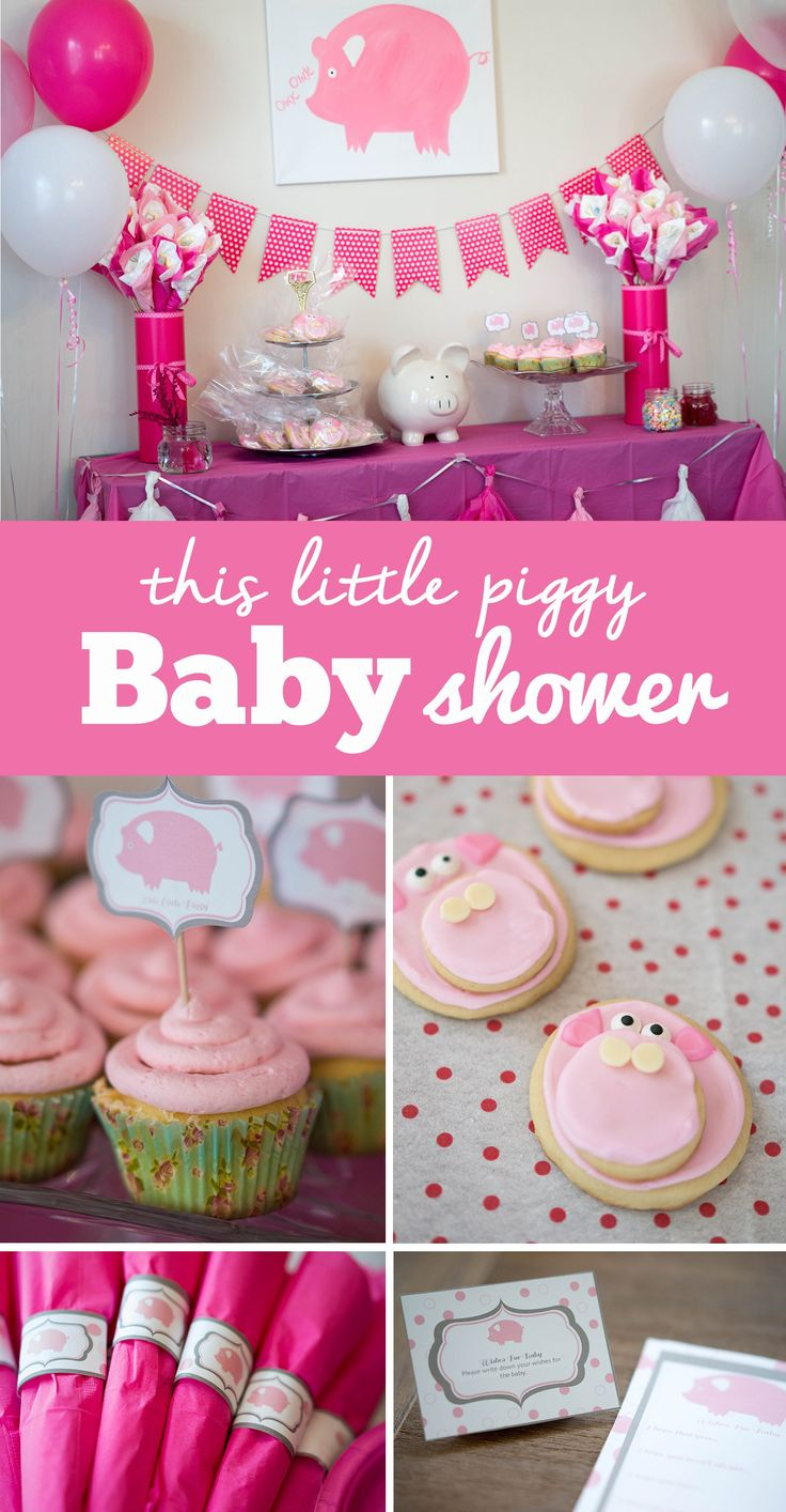 A beautiful pig theme baby shower. And what better theme than to match the nursery rhyme, This Little Piggy went to the Market?
