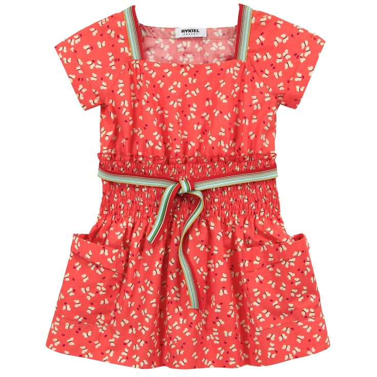 Tangerine butterfly-printed dress made of fine cotton poplin. Square neckline and short sleeves. Gathered waistband. Striped belt to tie on the front. Large side pockets. - £ 64,80