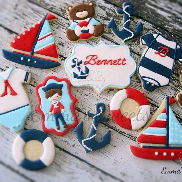 Full nautical set for baby Bennett. #nautical #cookies