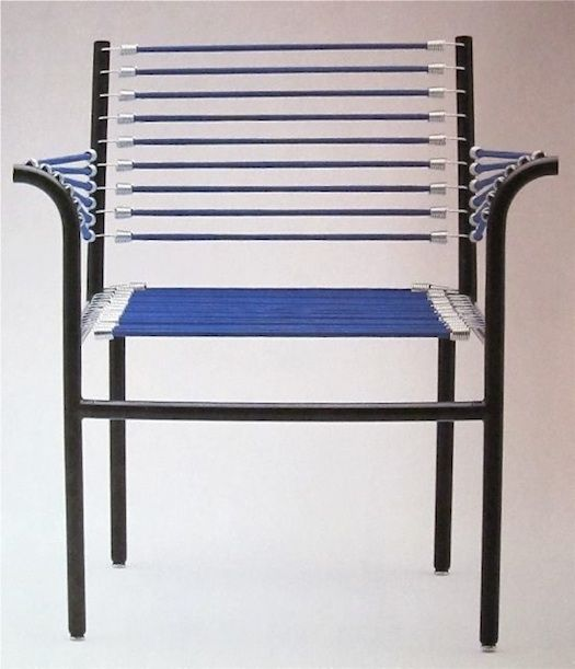 bungee cord chairs + furniture (rene herbst)  Have any old outdoor chairs that need tossed or rewoven?  Try wrapping with Bungee Cord!