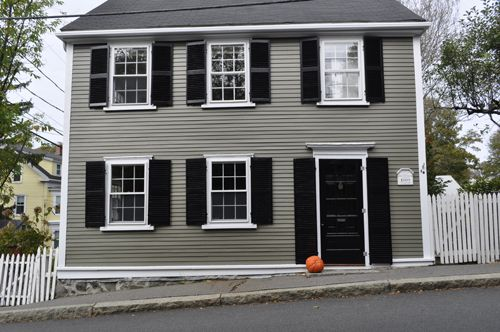 Olive siding with black shutters new home pinterest black shutters and siding colors for Grey and white houses exterior