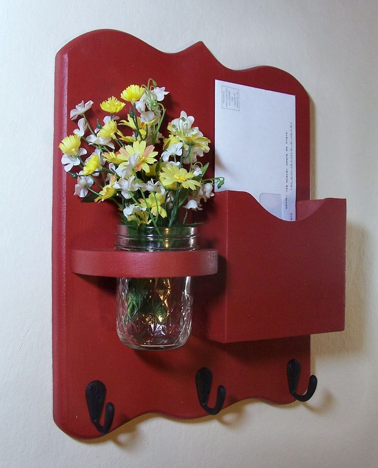 Letter holder/ Key hanger love this...could do without the jar holder though and maybe do just a shelf?