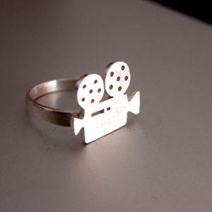 Image of Movie Camera Ring - Handmade Silver Ring - for film marker