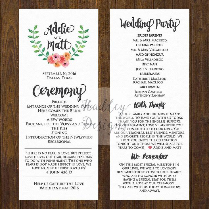 Wedding Programs Ceremony Program Ideas Sample