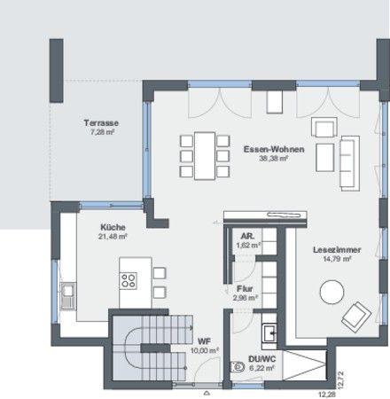 #Grundriss #erdgeschoss #wohnen #essen #gästebad #küche #diele #schiebetür