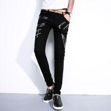 2017 di Modo Della Rappezzatura pantaloni di Pelle Stretti Jeans di Marca Punk Stile Gentleman Pantaloni Della Matita Slim Fit Maschile di Alta Qualità Cozy Jeans Slim(China (Mainland))
