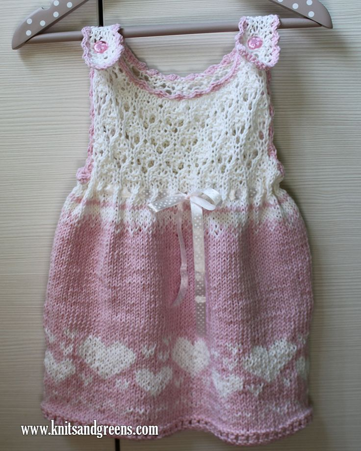 Pink Lace and Heart Baby-Dress Made On Order | Knits & Greens