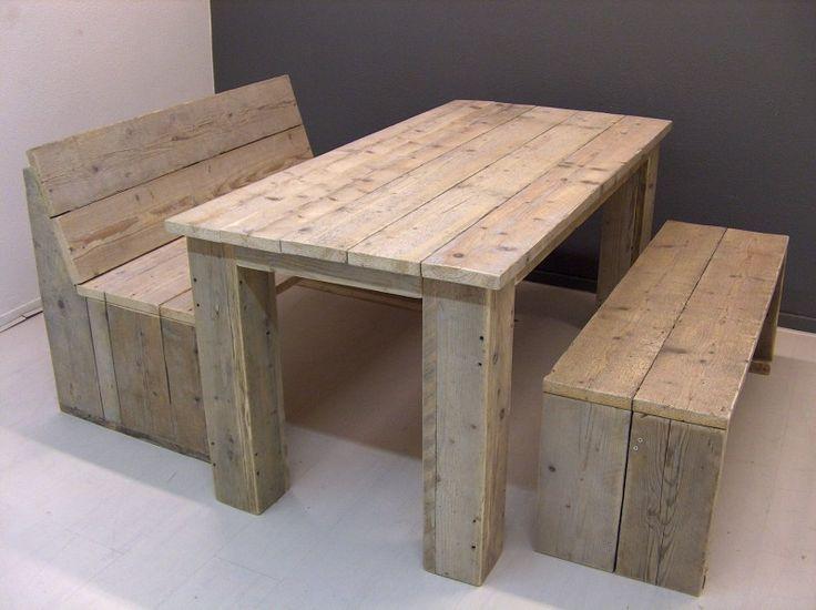 Complete set: met tafel en 2 bankjes van oud steigerhout in diverse maten (22131528)