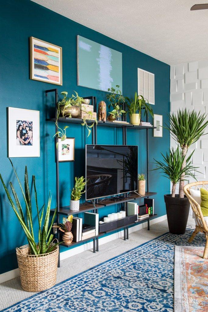 Affordable Modern Boho Living Room Refresh Casa Watkins Living Accent Walls In Living Room Living Room Wall Color Teal Living Rooms