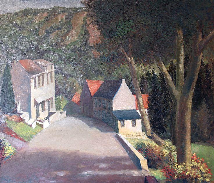 View on a street in Burg Reuland (Belgium) around 1980 - Oil on canvas