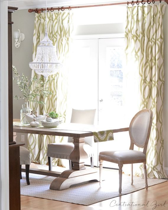 Green White Mixed Wood Tones Dining Room Window Treatments Hung Under Molding Gives This Height
